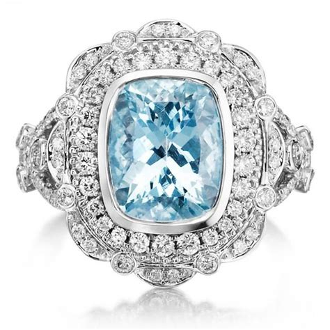 aquamarine deco engagement ring aquamarine engagement ring 3 75tw 18k white gold aquamarine vintage deco style