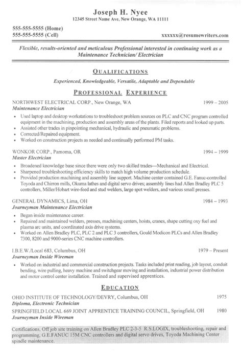 technical resume format for electrical experience electrician resume exle electrical contractor sle