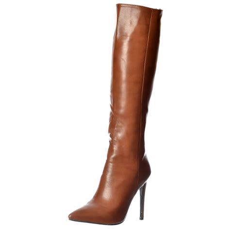 brown high heel knee high boots womens stiletto work high heel pointed toe knee high