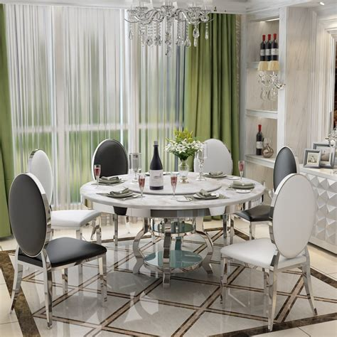 stainless steel dining room set home furniture minimalist modern glass dining table   chairs
