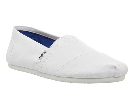 Toms Optic White Canvas Original Size 43 toms classic slip ons in white for lyst