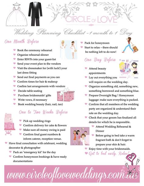 free printable wedding checklist by month 3 wedding planning checklist 1 month before download our