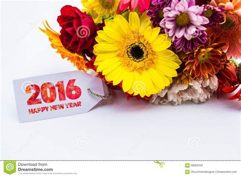 happy new year flower happy new year 2016 with flower and tag isolated on a