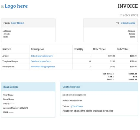 Invoice Template Bootstrap   invoice example