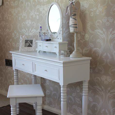 blanch range white dressing table with mirror and stool