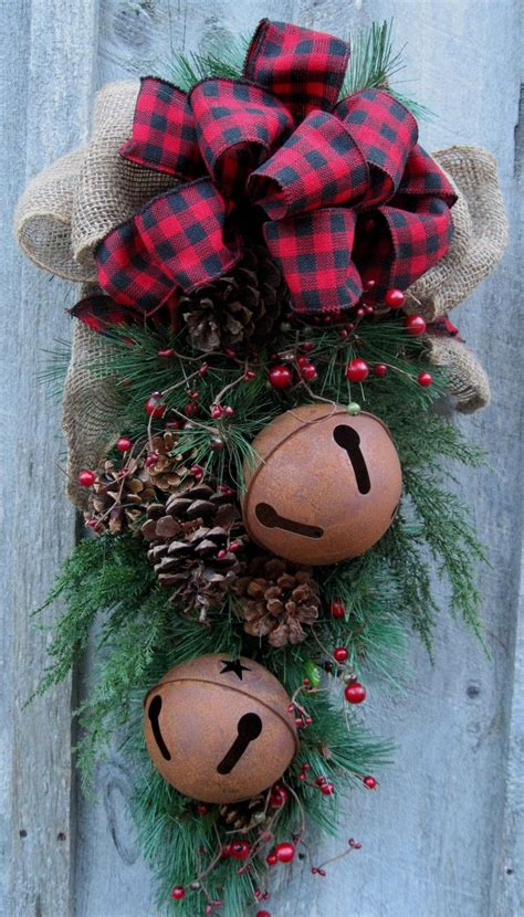christmas swag holiday door wreath sleigh bells woodland wreath plaid bow winter wreat