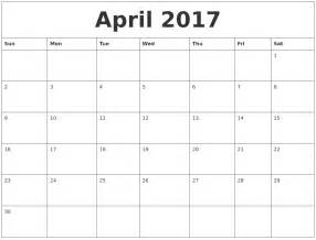 april 2017 free printable monthly calendar