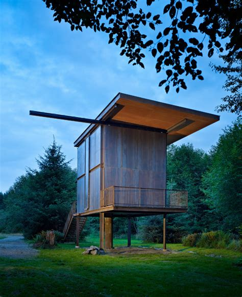 Steel Clad 350 Sq Ft Modern Cabin On Stilts With Shutters Tiny House On Stilts
