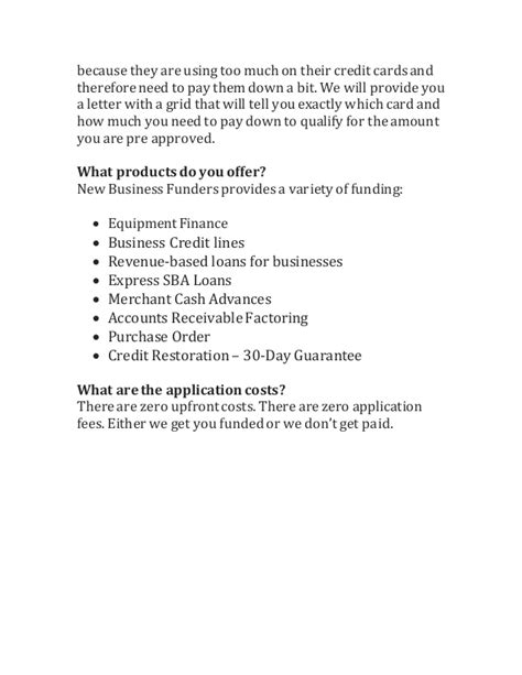 frequently asked questions new business funders