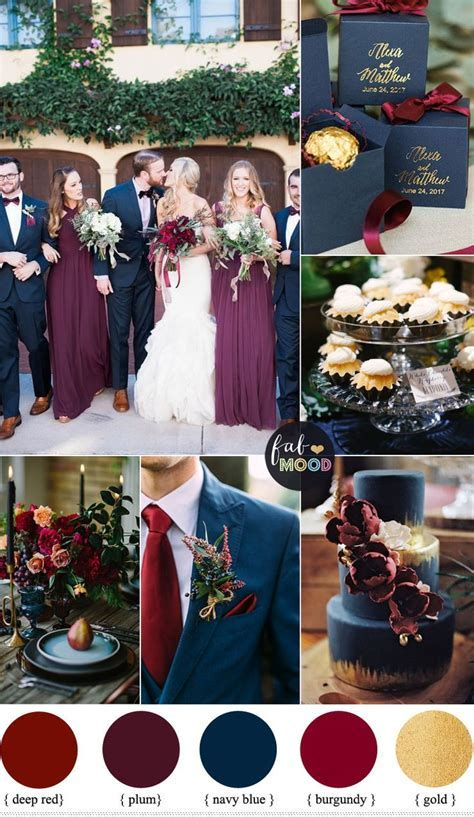 Plum, burgundy and navy blue wedding with gold accents for