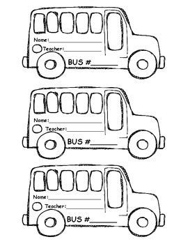 printable bus tags kindergarten bus tags for first week of school bus number name