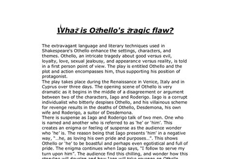 Othello As A Tragic Essay by What Is Othello S Tragic Flaw Gcse Marked By Teachers