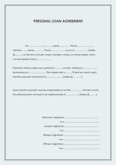 personal loan agreement template word 40 free loan agreement templates word pdf template lab
