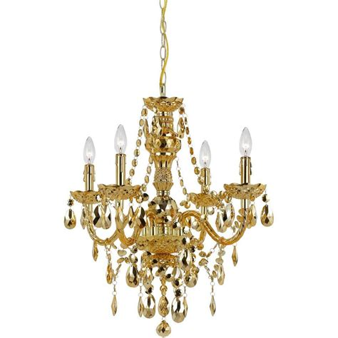 Gold Chandeliers Af Lighting Naples 4 Light Gold Mini Chandelier With Plastic Bead Accents 8912 4h The Home Depot