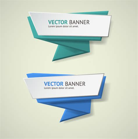 Origami Business - origami business banners design 06 vector banner free
