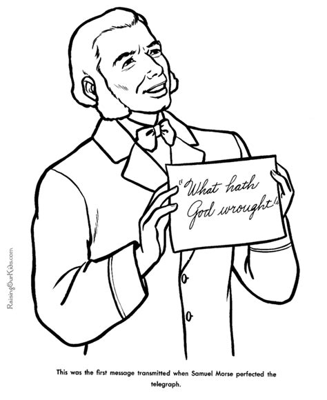 Samuel Morse Coloring Pages American History 048