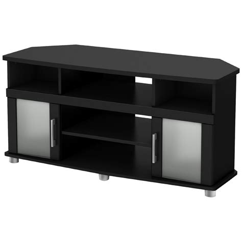 Black Tv Cabinet With Glass Doors Corner Tv Stand Entertainment Center