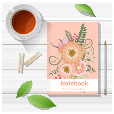 Notebook Wooden Table notebook with wooden table background vector 08 vector