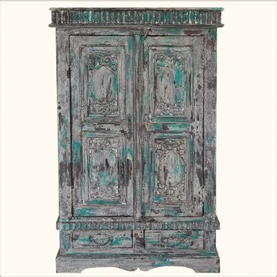 distressed armoire furniture distressed reclaimed wood hand painted wardrobe armoire closet rustic