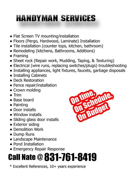free templates for handyman flyers 8 best images of handyman services flyer template free