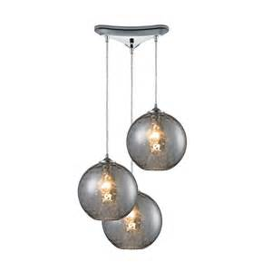 Modern multi light pendant light with grey glass and 3 lights 31380
