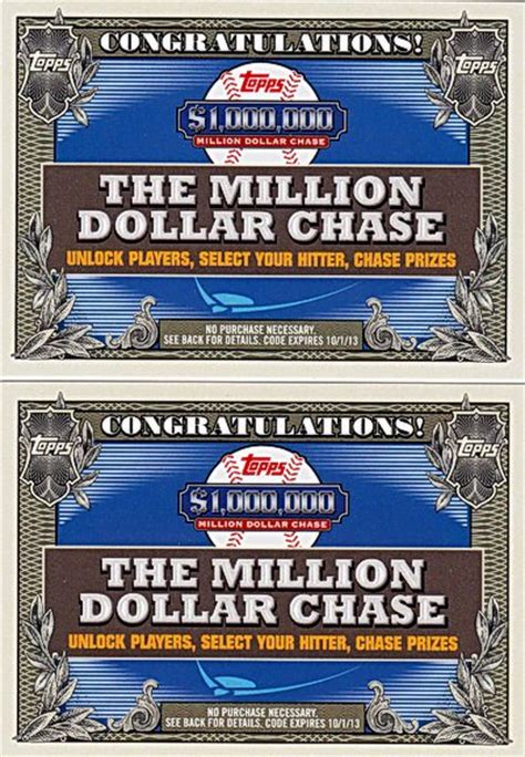 Million Dollar Giveaway - 2013 the million dollar chase giveaway unused codes lot of 2 emailed or free