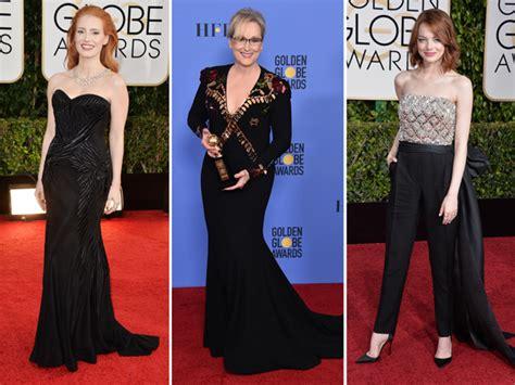 golden globe penghargaan bergengsi untuk dunia perfilman dan para aktris hollywood kompak kenakan busana hitam di