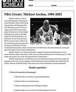 michael jordan biography in spanish this is a printable reading comprehension exercise