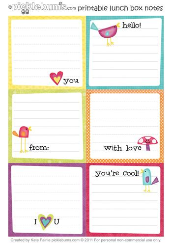 card template to sxend out printable lunch box notes picklebums