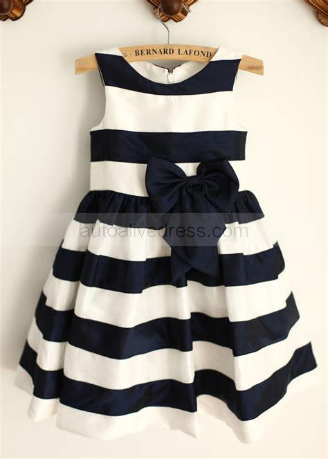 St Kid Line Navy a line ivory navy blue stripe taffeta flower dress with handmade navy blue bow
