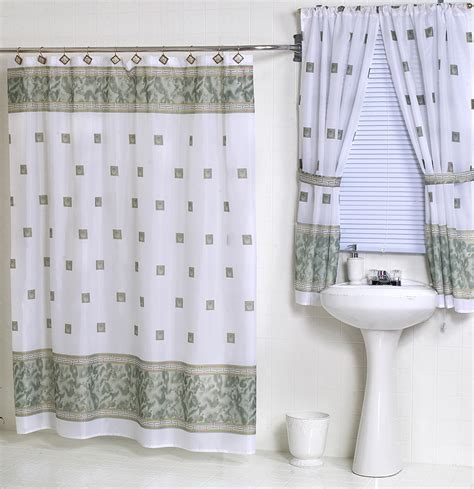 Windsor Jade Green Fabric Shower Curtain Matching Window