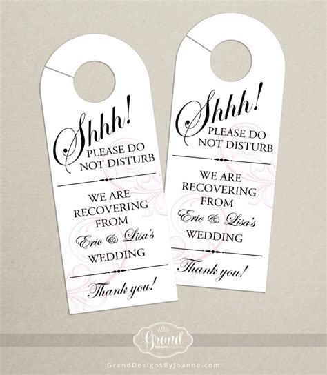 wedding door hangers template set of 10 classic swirl door hanger for wedding hotel