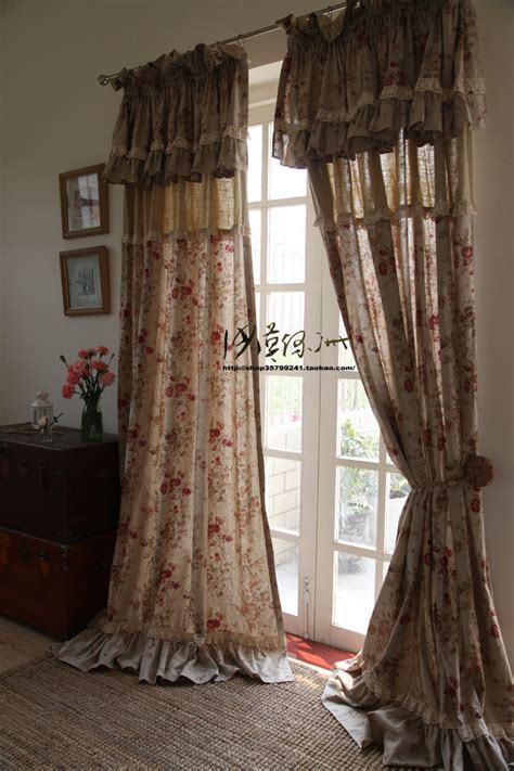 french american fashion linen ruffle lace bedroom curtain jpg