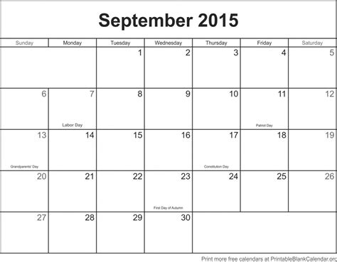 Blank Calendar For September 2015 Monthly Calendar Archives Printable Blank Calendar Org