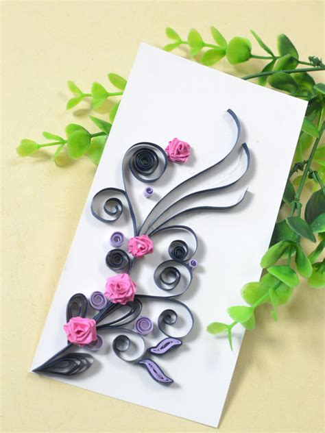 Paper Roses For Card - how to make a handmade quilling paper card for