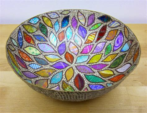 Paper Mache Bowls - printing with gelli arts 174 paper mache bowls with gelli