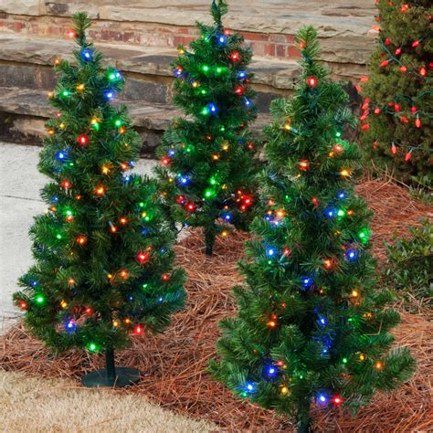 Outdoor Decorations 3 Walkway Pre Lit Winchester Fir Multi Color Tree