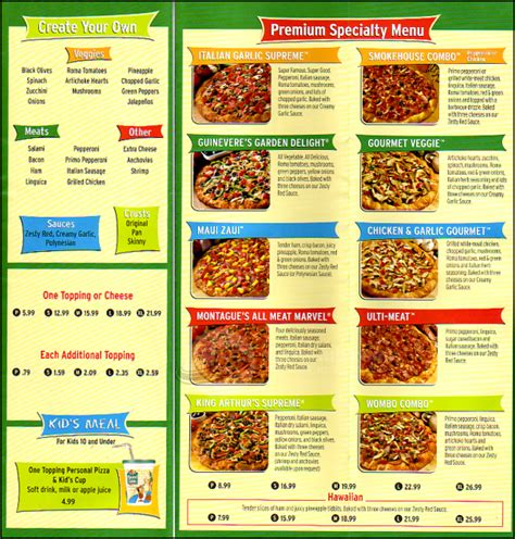 table pizza menu coupons mega deals and coupons