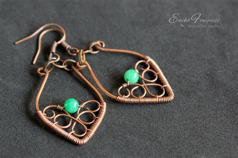how to make copper jewelry from wire copper wire wrapped earrings with green jade enikő fenyvesi