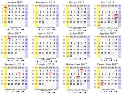 Calendã 2017 Feriados Para Imprimir Calend 225 2017 Para Imprimir Feriados