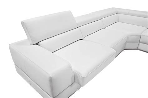 Divani Casa Pella Modern White Bonded Leather Sectional Sofa White Bonded Leather Sectional Sofa