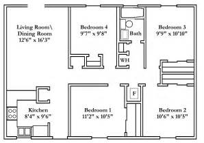 Small 4 Bedroom Floor Plans by Small 4 Bedroom House Plans Free Typical Floor Plans