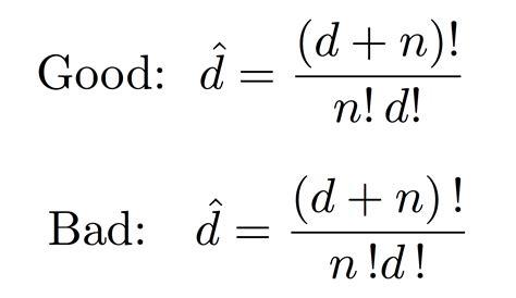 infinity factorial math mode factorial spacing inside equation tex