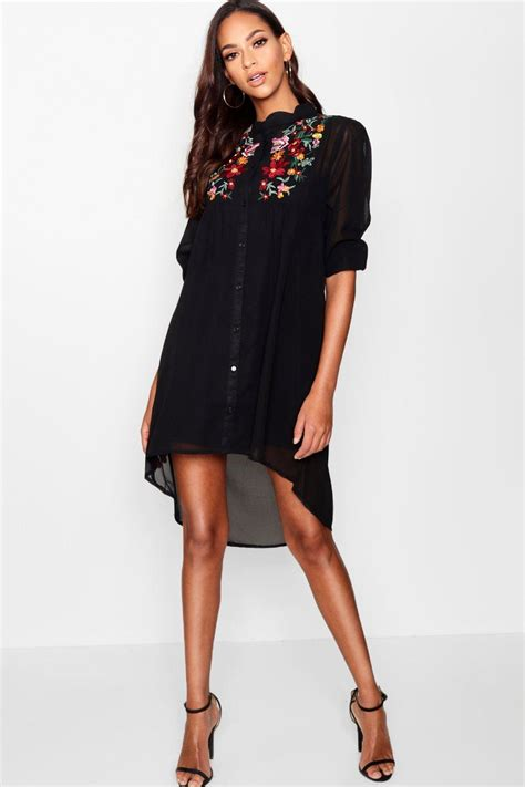 Embroidered Shirt boutique embroidered shirt dress at boohoo