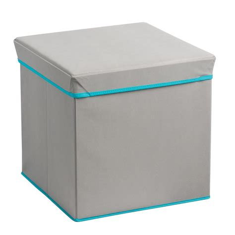 Teal Storage Ottoman Foldable Storage Ottoman Grey And Teal 22041 The Home Depot