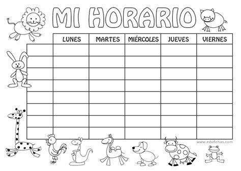 horario de clases para imprimir horario coloreable para la vuelta al cole horario escolar