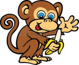 Cute monkey cartoon eating banana vector pictures to pin on pinterest