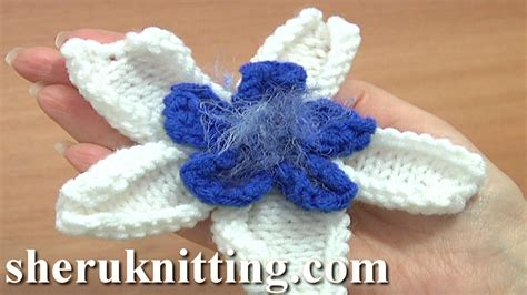 knitted flower pattern youtube double layer knitted flower pattern tutorial 26 knitting