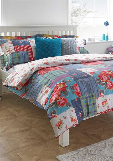 Patchwork Duvet Cover Set - paoletti patchwork duvet cover set multi coloured