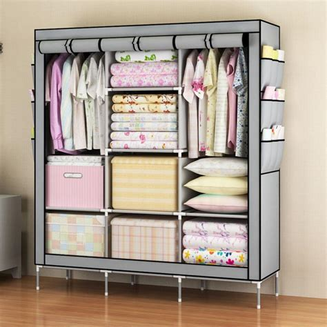 Radysa Simple Rack Organizer Simple Clothes Closet Portable Wardrobe Storage Organizer With Shelves Multilayer Sturady